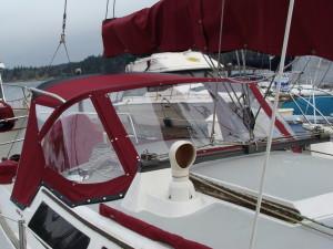Custom marine dodger red